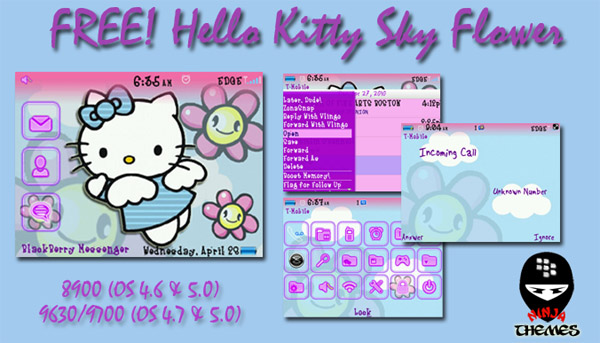 free HelloKitty Sky Flower themes