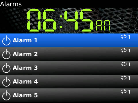 Alarms for blackberry apps