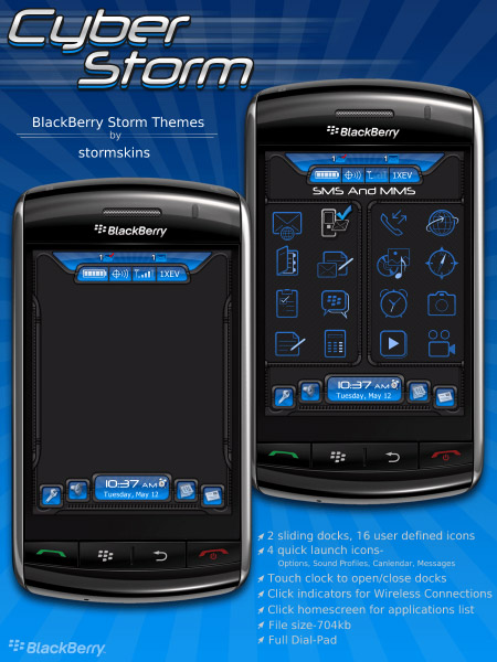 Cyber Storm Themes for blackberry 95xx