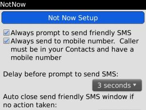 NotNow - Ignore call and send friendly sms
