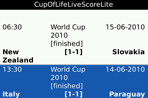 Cup Of Life Live Score Lite