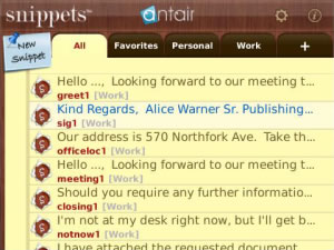 Snippets v1.3.0 apps for blackberry