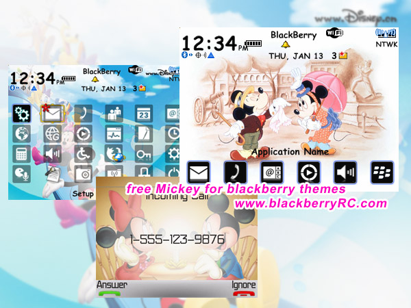 free Mickey for blackberry 8700 themes