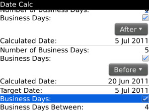 Date Calc v1.0.2 for blackberry os4.6+ applications
