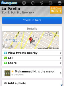 Foursquare v3.8 for blackberry os6.0 apps