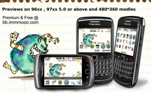 Doodle Monsters for blackberry 9300 9330 themes os6.0