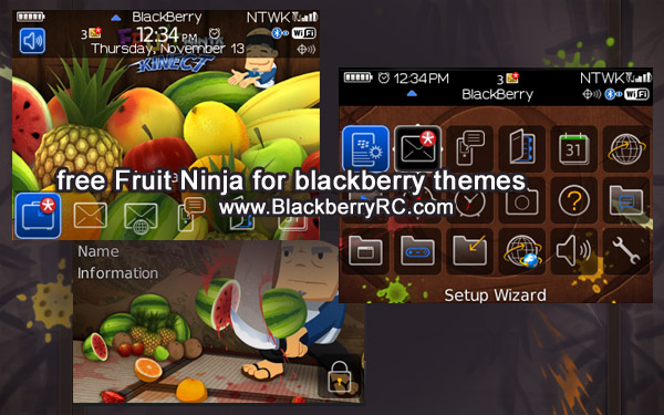 Fruit Ninja theme for blackberry 8520,8500,9300 series