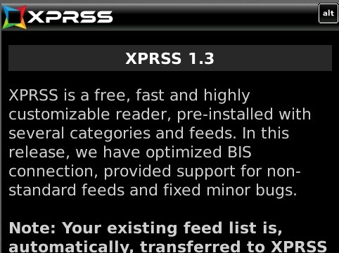 Xpress 1.3 for blackberry os5.0+ apps