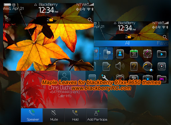 Maple Leaves os7 icons theme for bb 97xx,9650 os6.0
