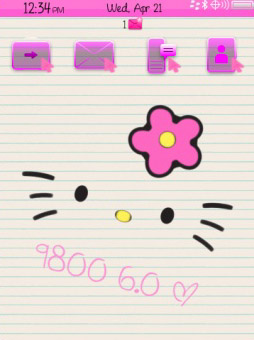 Hellokitty 4 icons for blackberry torch 9800 theme download