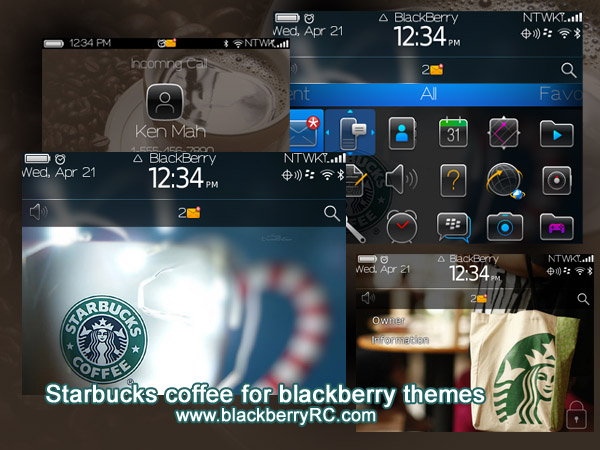 Starbucks coffee theme for blackberry bold 9700,9