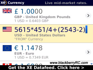 XE Currency v2.1.0 for blackberry apps