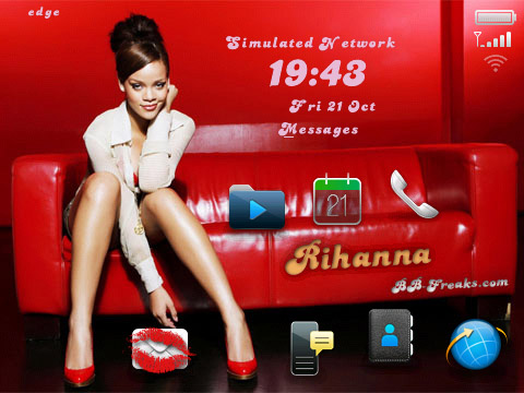 FREE Rihanna for blackberry 91xx os6.0 pearl themes