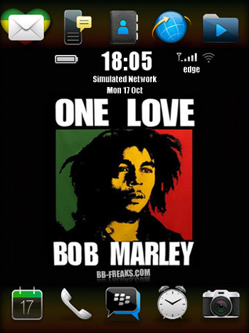 FREE OneLove Bob Marley for blackberry 9500 storm themes