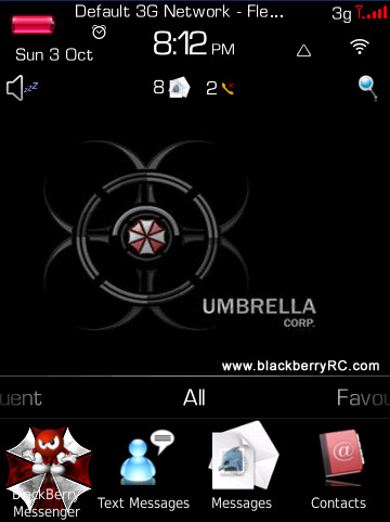 FREE Umbrella Corp for blackberry torch 9800 theme os6.0