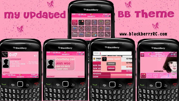 Cute Girl pink theme for blackberry 8520 os4.6.1