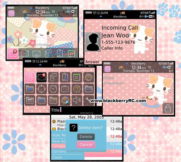 Cute kitten for Blackberry 8520,9300 free themes