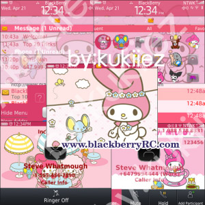 My Melody (マイメロディ) for blackberry 9300 theme os6.