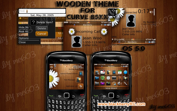 Wooden os6.1 icons theme for Blackberry curve 85x