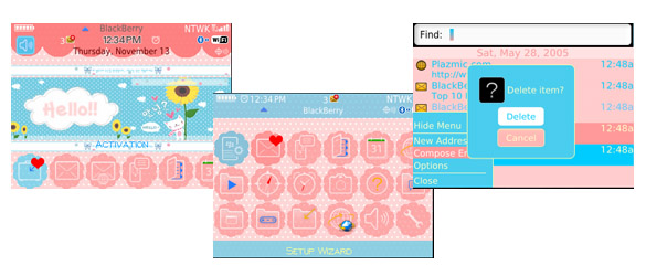 Pink Blue for blackberry 8520 themes