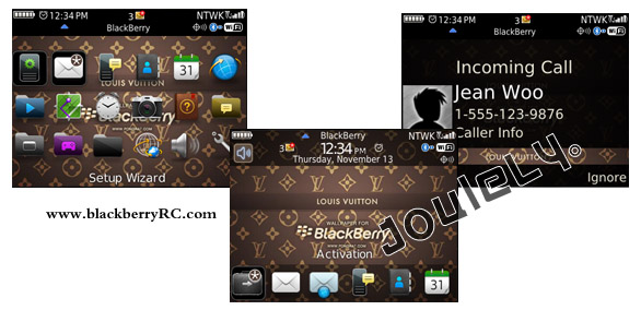 Louis Vuitton os7 icons theme de blackberry 8520