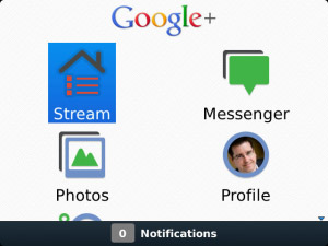 Google+ v1.0.57 for blackberry App (OS 6.0, 7.0)