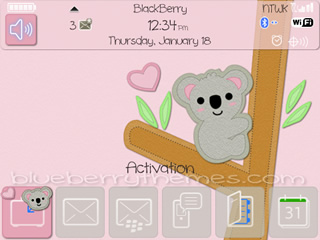 Cute Koala for blackberry 8520, 9300 thems os5.0