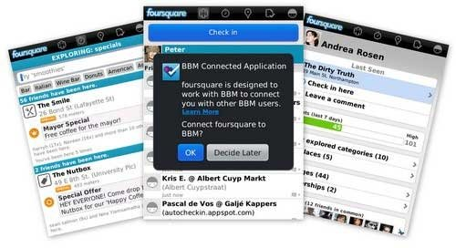 foursquare v5.5 for blackberry os6.0 apps