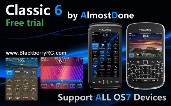 Classic 6 for blackberry 9850, 9860 themes( trial )