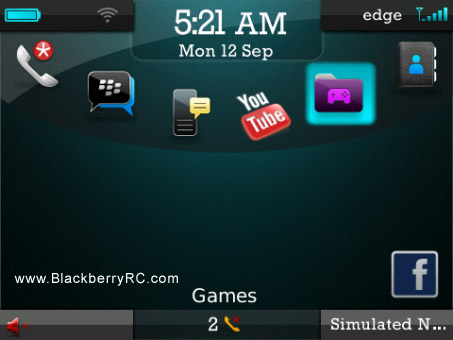 AquaGlow theme for blackberry 85xx, 93xx os5.0