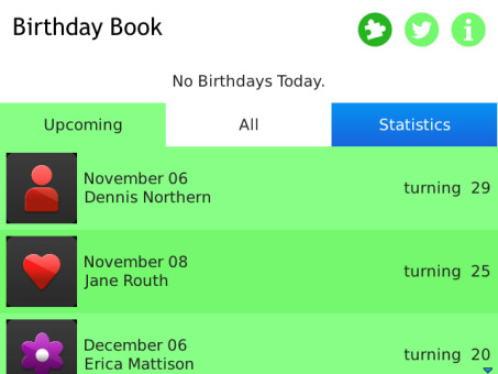 Birthday Book 1.1.4 for blackberry os5.0+ apps