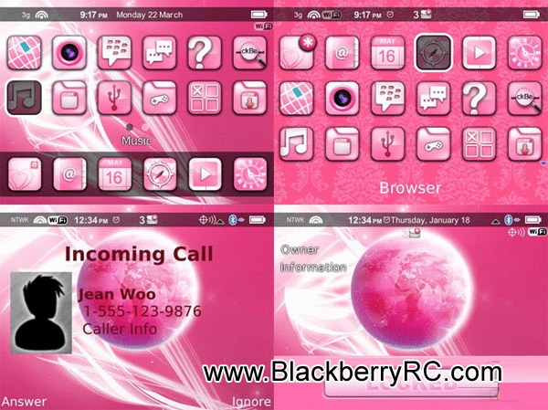 Pink miPhone theme for blackberry 85xx,93xx os5