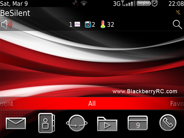 SHIFT RED blackberry themes