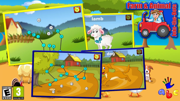 Preschool ABC Farm and Animal Join the Dot Puzzles