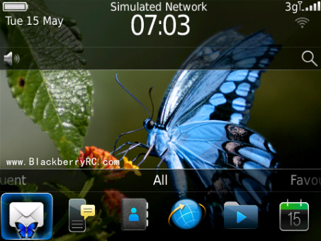 <b>Blue Butterfly blackberry theme</b>