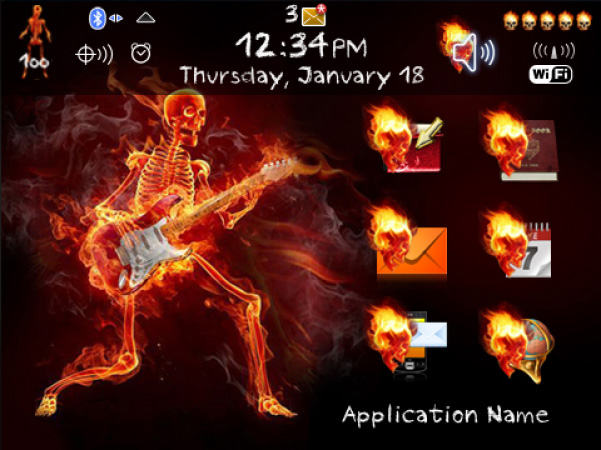 <b>Flaming Skeleton 9900,9930 bold theme</b>