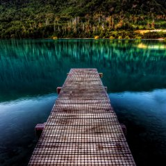 <b>Pure Beautiful Calm Lake Wooden Bridge</b>