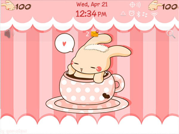 Bunny with Hot Coffee for bb 99xx bold theme