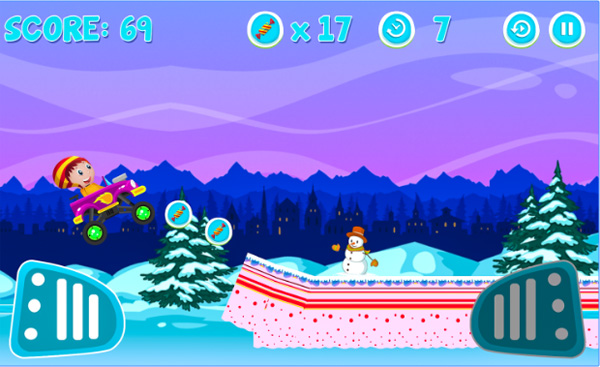 Monster Truck snow for kids : Candy Christmas Game